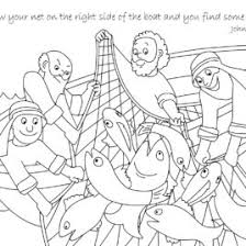 Free Bible Coloring Page A Net Full Of Fish