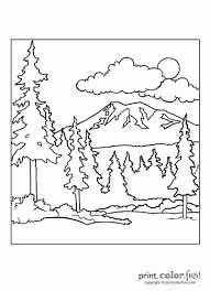 Color In This Beautiful Scene Of A Landscape Showing Mountain Sky And Forest The Big Birthday Calendar Book Large Print Adult Coloring Books Related