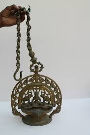 Hanging Oil Lamps Ebay by 1900 U0027s Old Beautiful Gajlaxmi Figure Engrave Hanging Oil Lamp Nice