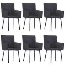 vidaxl esszimmerstühle mit armlehnen 6 stk schwarz samt gitoparts