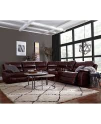 CLOSEOUT Daren Leather 6 pc Sectional Sofa with 3 Power Recliners