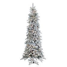Flocking Christmas Tree Kit by Sterling Narrow Flocked Pencil Pine Lighted Christmas Tree