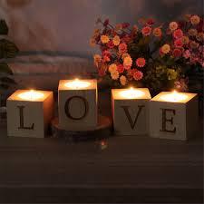 Vintage Wooden LOVE Tea Light Candle Holder Set Votive Holders Rustic Wedding Centerpieces Table Decoration