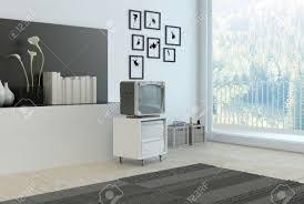 einfache wohnzimmer ecke mit grauen und weißen dekor mit einer wandnische mit bücher blumen und vasen einem teppich schrank und alten stil