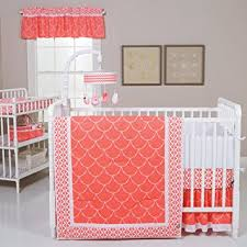 Amazon Trend Lab Shell 3 Piece Crib Bedding Set Coral White