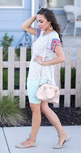 Summer Shorts Stripes Cute Modest