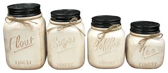 Ceramic Canisters Set Of 4 White Rustic Kitchen And