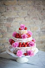 Naked Wedding Cake With Strawberries Pink Roses