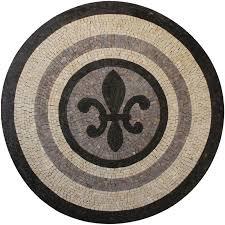 Marble Medallion Fleur De Lys Zen Colors Mosaic Mosaic Marble