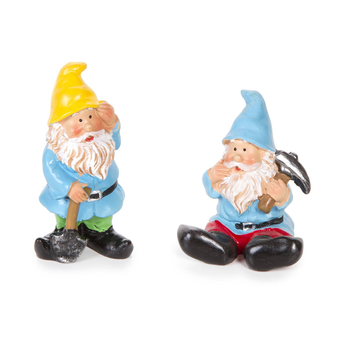 Darice Miniature Gnome Figurines - Shovel and Pick Gnomes - 1 Set