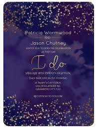 Royal Purple Gold Dots Watercolor Wedding Invitation