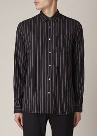 robert geller black muted stripe dress shirt in black for men lyst
