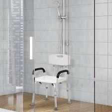 homcom dusche badewanne stuhl mit rückenlehne und armbänder höhe einstellbare aluminium 46 5x54x72 5 85 cm