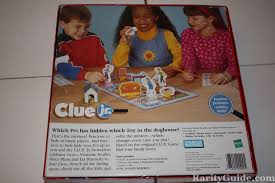 Clue Jr Parker Brothers Hasbro 1999 Box Back