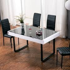 Maestro Dining Table White High Gloss W Black Glass Top