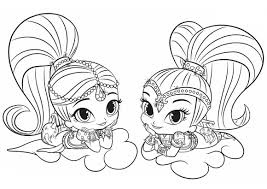High Quality Free Shimmer And Shine Cartoon Coloring Books For Kids Printable