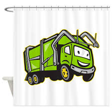 100 Rubbish Truck Garbage Cartoon Decorative Fabric Shower Curtain Set