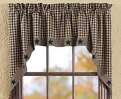 Checkered Flag Window Curtains by New Primitive Country Black U0026 Tan Check Applique Star Swag Window