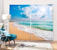 tapisserie bureau plage mer 3d blackout rideaux pour literie chambre salon