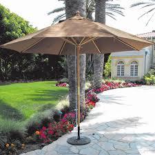 Tilt Patio Umbrella With Lights by Galtech 11 Ft Wood Patio Umbrella With Pulley Lift Light Wood