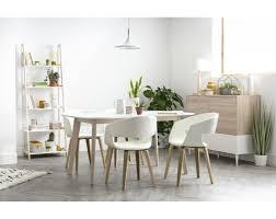 design esstisch weiß und helles holz l150 leena miliboo