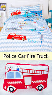 Fire Trucks And Police Cars Duvet Cover Set | Kids Decor | Pinterest ...
