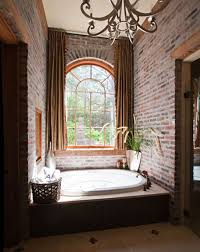 French Country Bathroom With Brick Walls