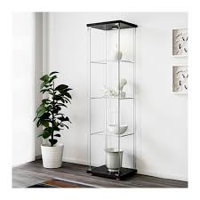 detolf glass door cabinet black brown ikea