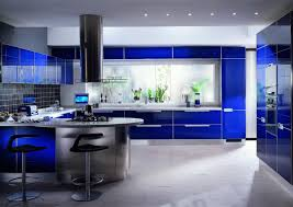 modern blue color theme kitchen fixtures decoration ideas with
