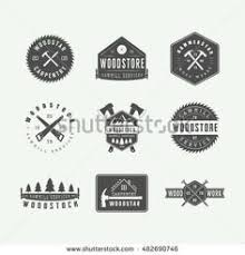 Set Of Vintage Carpentry And Mechanic Labels Emblems Logo Graphic Art Vector