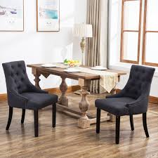 Set Of 2 Curved Shape Linen Fabric Upholstered Accent Dining Chair In Black