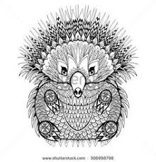 Hand Drawn Totem Echidna Australian Animal Illustration For Anti Stress Adult Coloring Page With High