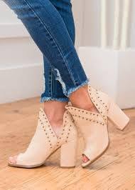 Run With Me Peep Toe Studded Booties Nude