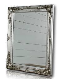 spiegel wandspiegel silber barock holz badspiegel landhaus cottage holzrahmen