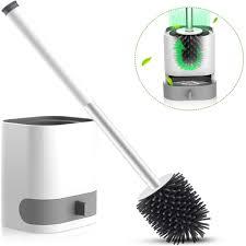 wc bürste aus silikon toilettenbürste klobürste bürstenkopf ohne bohren mit halter wandmontage stehen langer stiel für badezimmer oder gäste wc