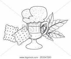 Iced Coffee In The Cup With Crackers Outline Drawing