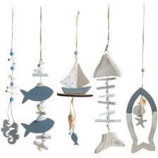 dekoanhänger set 5 tlg maritime deko zum aufhängen blau weiß aus holz badezimmer dekoration