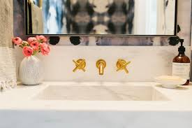 Kohler Purist Widespread Lavatory Faucet by White Marble Powder Room Sink With Gold Faucet Contemporary