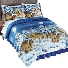 Bed Skirts Queen Walmart by Midnight Wolves And Full Moon Bed Comforter Set With Bedskirt