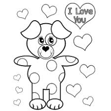 Bear Saying I Love You Coloring Page Of A Girl Wishing Valentines Day