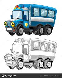 Cartoon Happy Funny Police Truck Isolated Smiling Vehicle Coloring ...