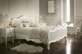 White Wooden Carving Bed Frame With Headboard And Shabby White
