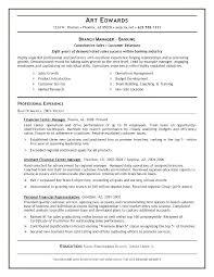 Bank Manager Resume Banking Sample Branch