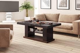 design couchtisch tisch hn 777 braun nussbaum hochglanz höhenverstellbar ausziehbar esstisch design impex