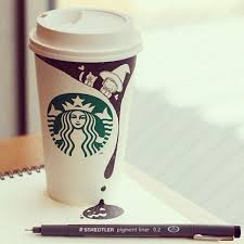 3D Drawing On A Starbucks Cup