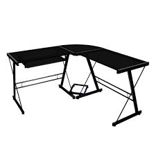 black corner desks in glass and metal corner computer desk