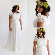 bohemian beach plus size wedding dress with sleeves 2016 vintage