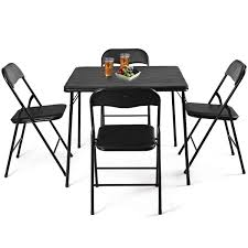 Costway 5PC Black Folding Table Chair Set Guest Games Dining Room Kitchen  Multi-Purpose Set Of 3 Monterey Square White Wood Table And Chairs Pencil And In Color Small Chair Ding Gorgeous For Toddlers Fniture Dectable Folding Foldable Wooden Mid Century Modern Romian Gateleg Winsome Robin 4pc Parent Cosco 5piece Bridgeport 32inch Card Steel Target Piece Alinium Costco Kmart Africa South Childrens Adorable Child Antique Costway Pc Outdoor Rattan Wicker Bistro Patio Brown Details About Balcony Terrace Garden 2