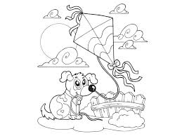 Spring Activities For Kids Coloring Page Kite