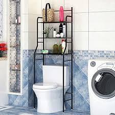 3 tiers lackierter stahl toilettenregal wc regal badezimmer regal aufbewahrungsregal für badezimmer 165 55 26cm schwarz schwarz
